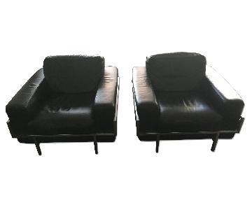 Black Leather Movie/Entertainment Room Chairs