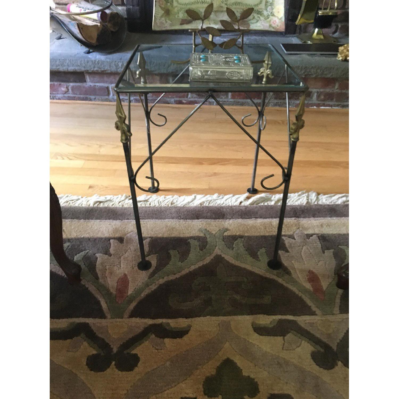 George Jenson Glass & Metal Side Table - image-1