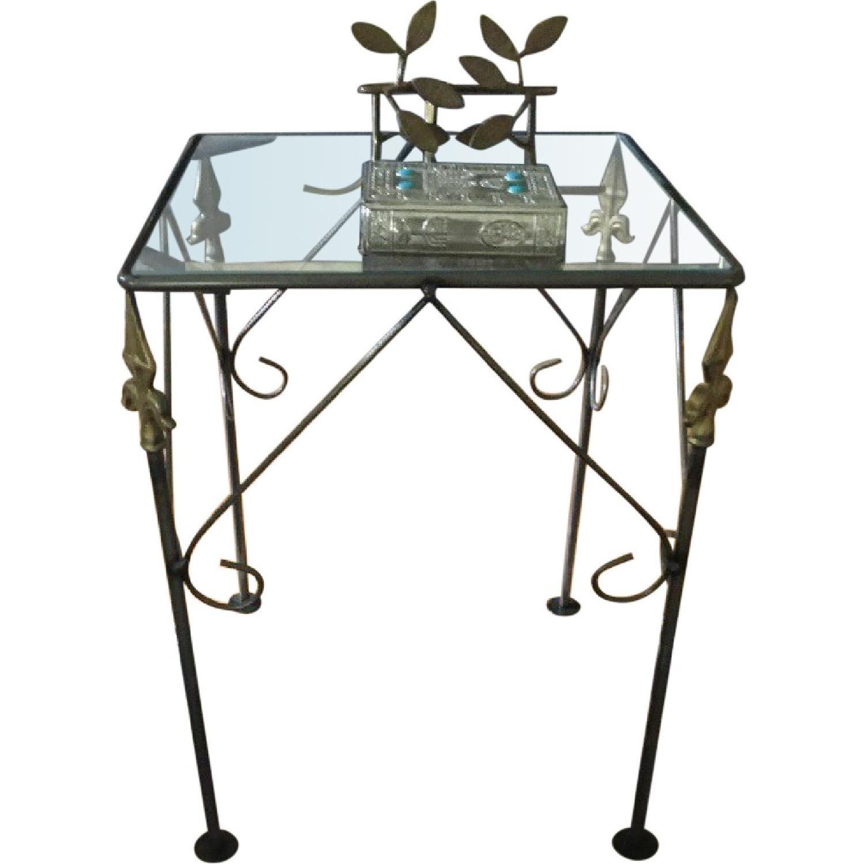 George Jenson Glass & Metal Side Table - image-0