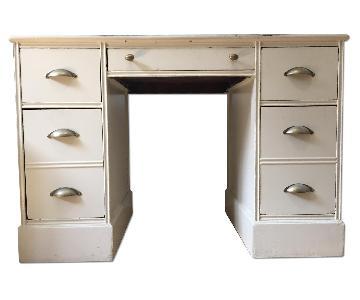 1930s Solid Oak Painted Kneehole/Partner's Desk