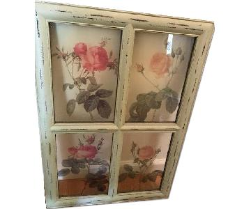 Shabby Chic Window Pane-Style Wall Art with Flowers