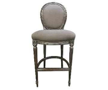 French Oak Wood High-Chairs/Bar Stools Painted in Antiqued S