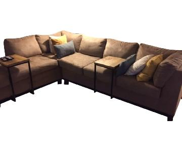Raymour & Flanigan Beige 2 Piece Sectional Sofa