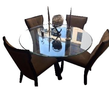Raymour & Flanigan Dining Espresso Dark Wood Dining Table w/ 4 Natural Tufted Chairs