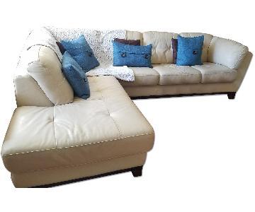 Italian Leather Sectional w/ Ottoman + Armchair