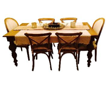 Restoration Hardware 19th Century Dinning Room Table w/ 6 Matching Chairs