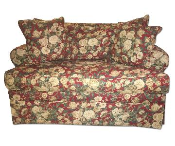 Ethan Allen Red Floral Loveseat