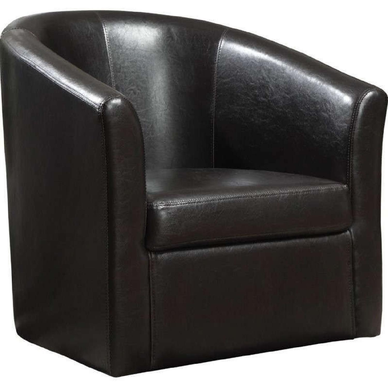 Modern Accent Chair in Dark Brown Faux Leather - image-0