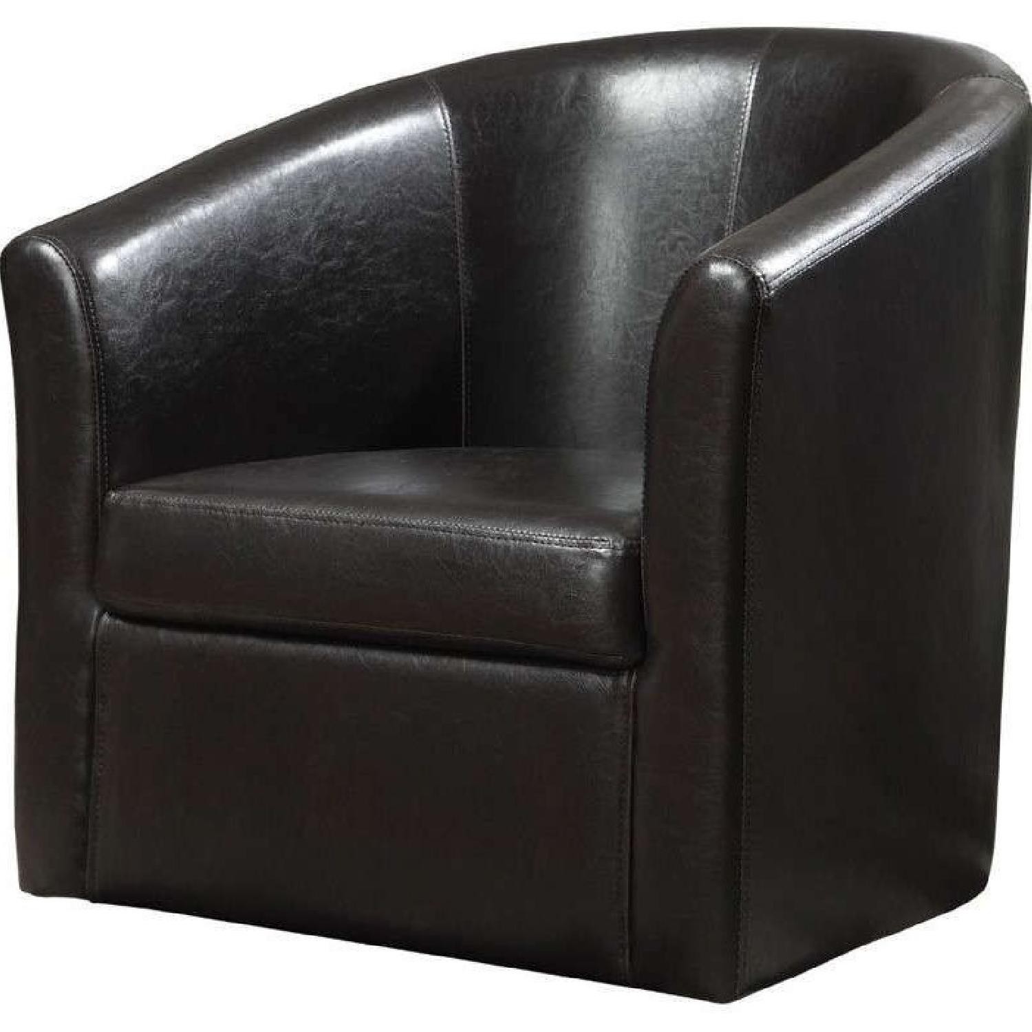 Modern Accent Chair in Dark Brown Faux Leather - image-1