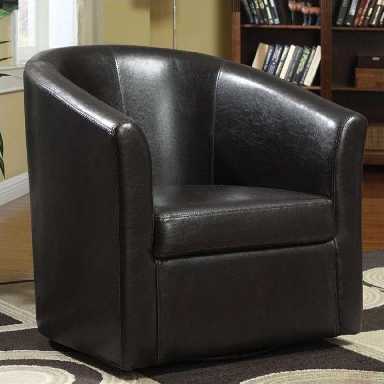 Modern Accent Chair in Dark Brown Faux Leather - image-2