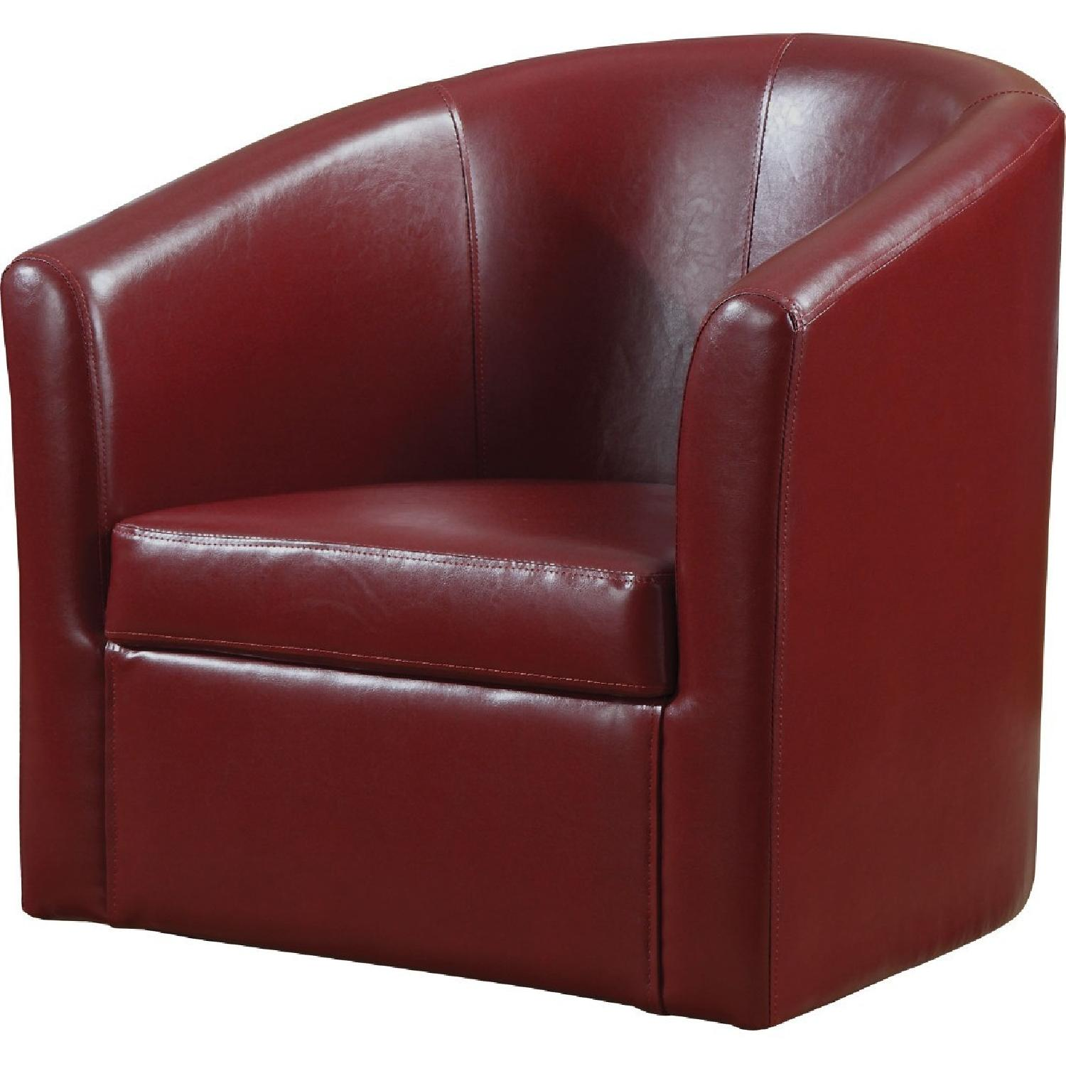 Modern Accent Chair in Red Faux Leather - image-0