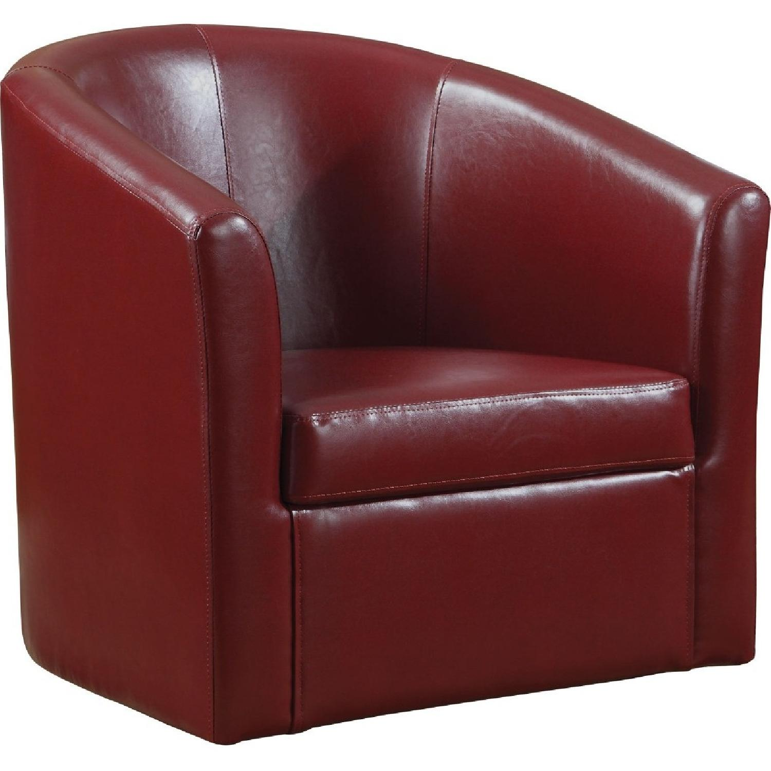 Modern Accent Chair in Red Faux Leather - image-1