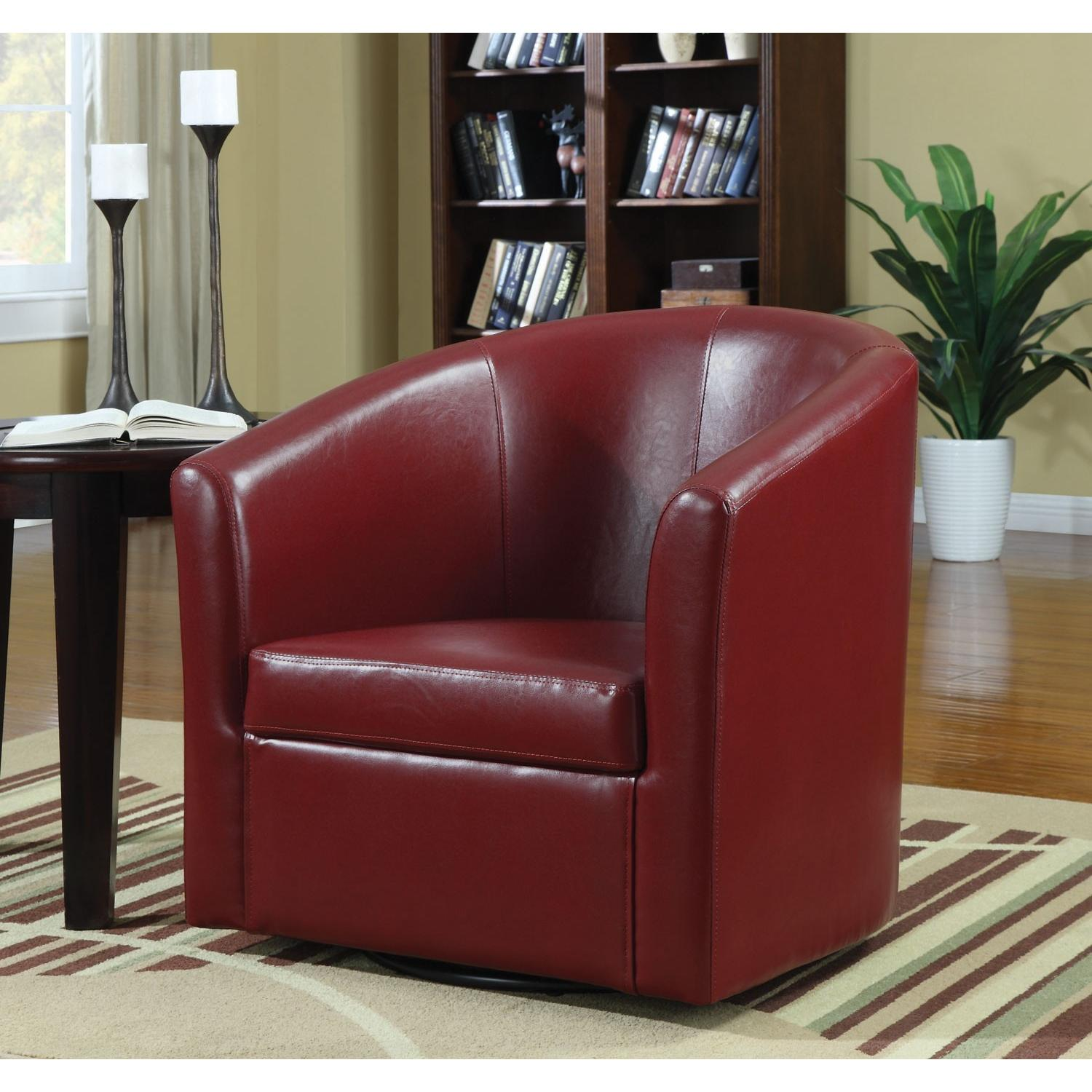 Modern Accent Chair In Red Faux Leather Aptdeco