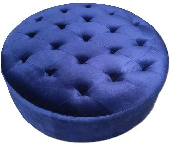Romanus Mid-Century Modern Ottoman in Royal Blue Velvet Fabric