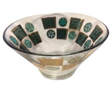 Midcentury Turquoise & Gold Glass Chip Bowl