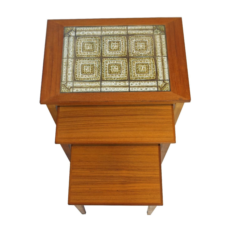 Rikke Teak & Tile Nesting Tables