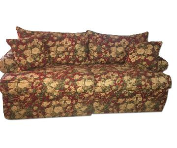 Ethan Allen Red Floral Sofa
