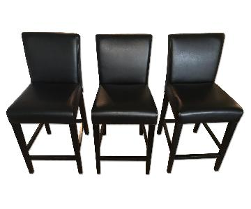 Crate & Barrel Lowe Onyx Leather Counter Stools
