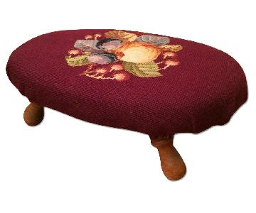 Vintage Small Needlepoint Footstool