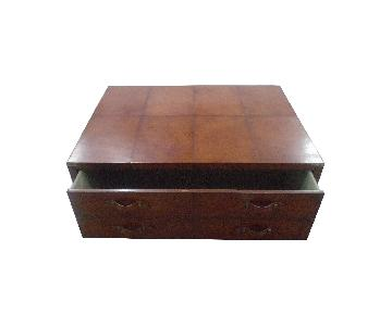 Square Leather Coffee Table Trunk Box