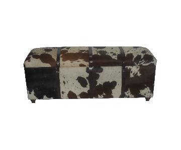 Hairon Black & White Rectangle Bench w/ Storage Box