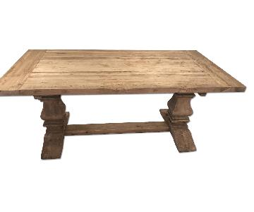 Restoration Hardware Salvaged Wood Trestle Rectangular Extension Dining Table