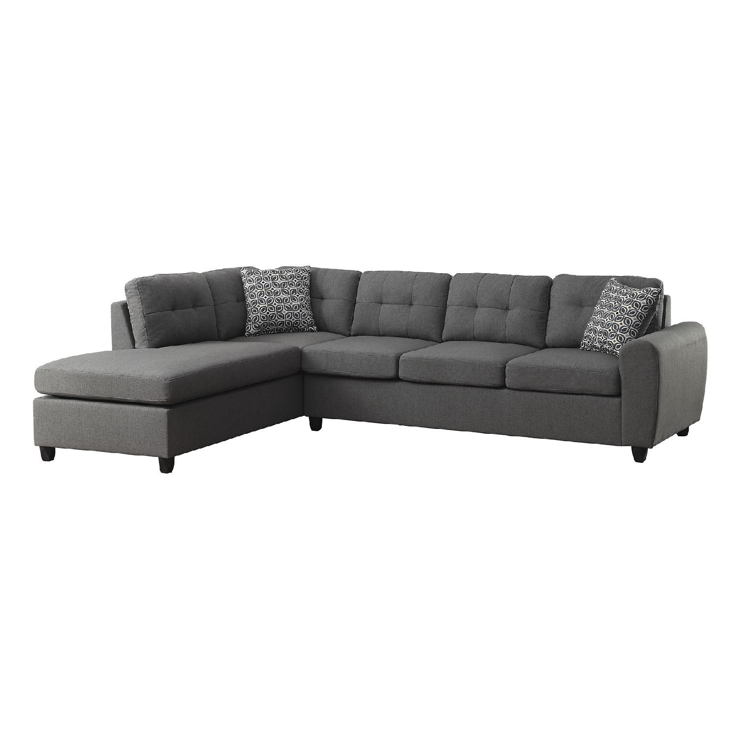 Contemporary Sectional: Contemporary Sectional In Grey Fabric W/ Button Tufted