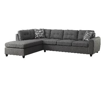 Contemporary Sectional in Grey Fabric w/ Button Tufted Cushi