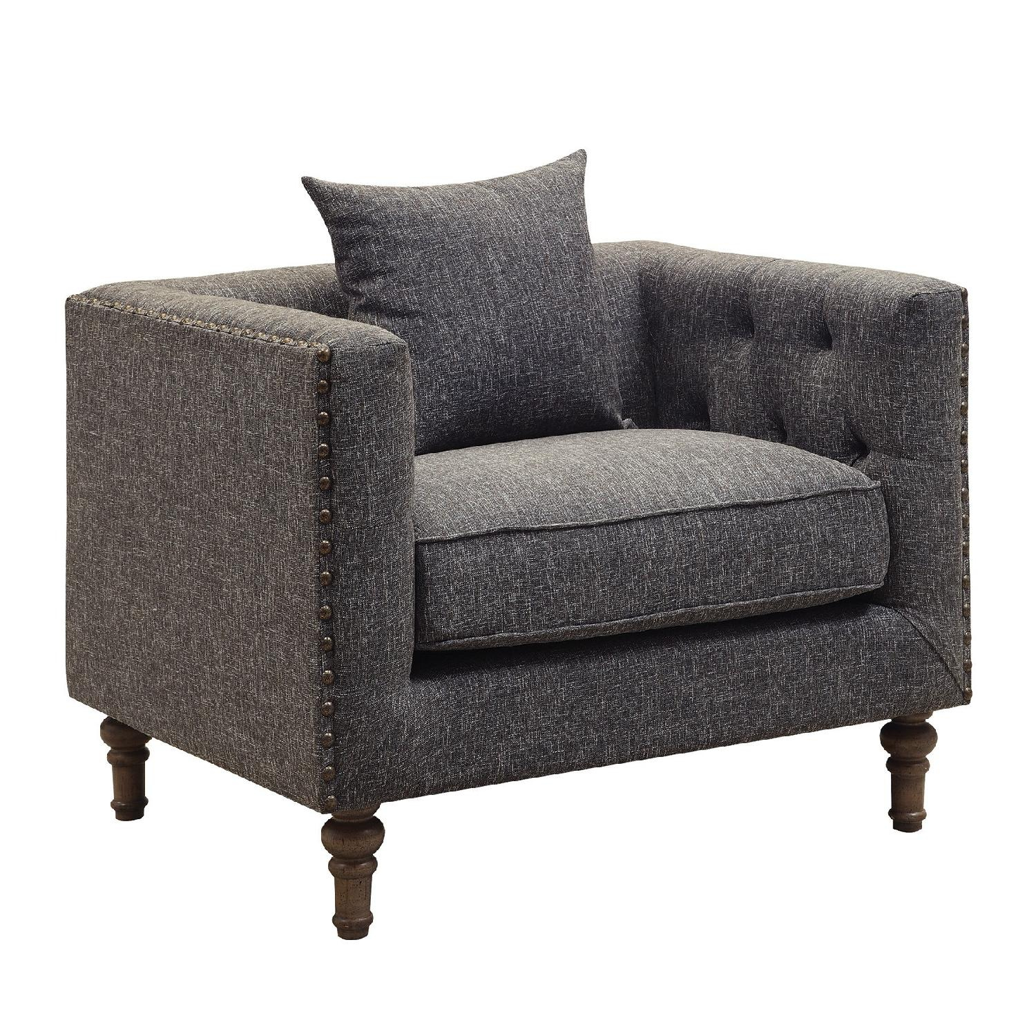 Modern Tufted Back Accent Chair W Feather Blend Topped