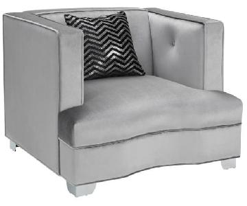 Modern Accent Chair w/ Tufted Back/Pocket Coil Seat in Silve