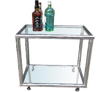 Charles Hollis Jones Style Vintage Hollywood Regency Chrome & Glass Bar Cart