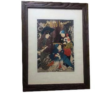 Original Japanese Woodblock Print - Kabuki Play
