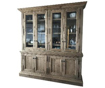 Restoration Hardware Salvaged Wood Glass 4-Door Sideboard & Hutch