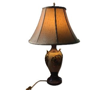 Vintage Shabby Chic Glazed Floral Table Lamp