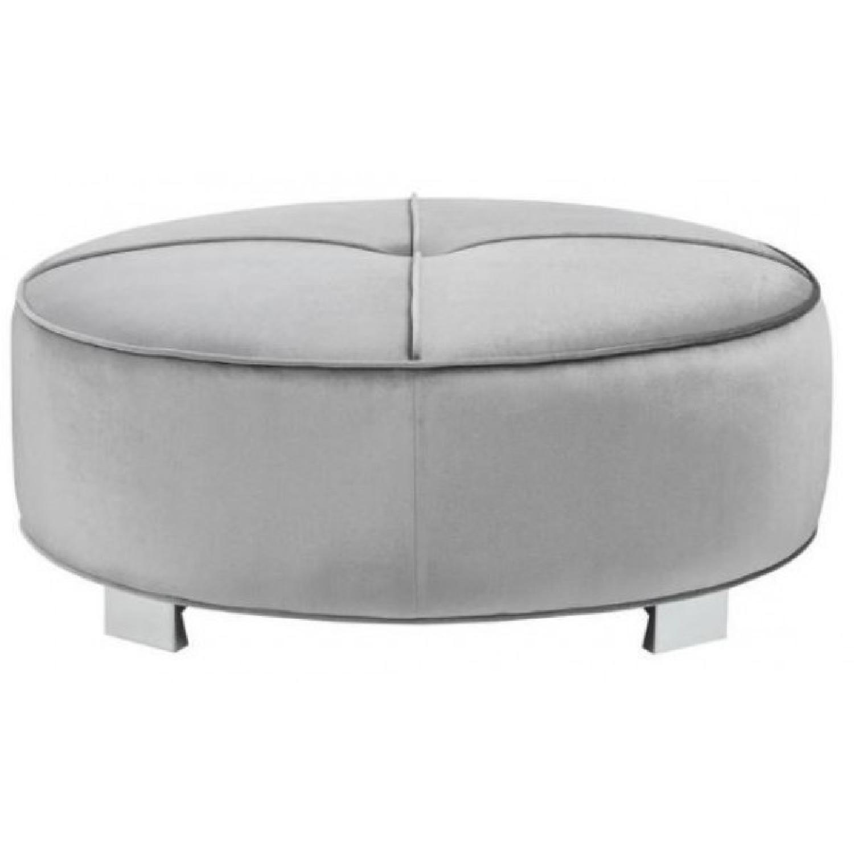Modern Round Ottoman w/ Pocket Coil Seat in Silver - AptDeco