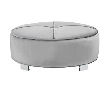 Modern Round Ottoman w/ Pocket Coil Seat in Silver Velvet Fa