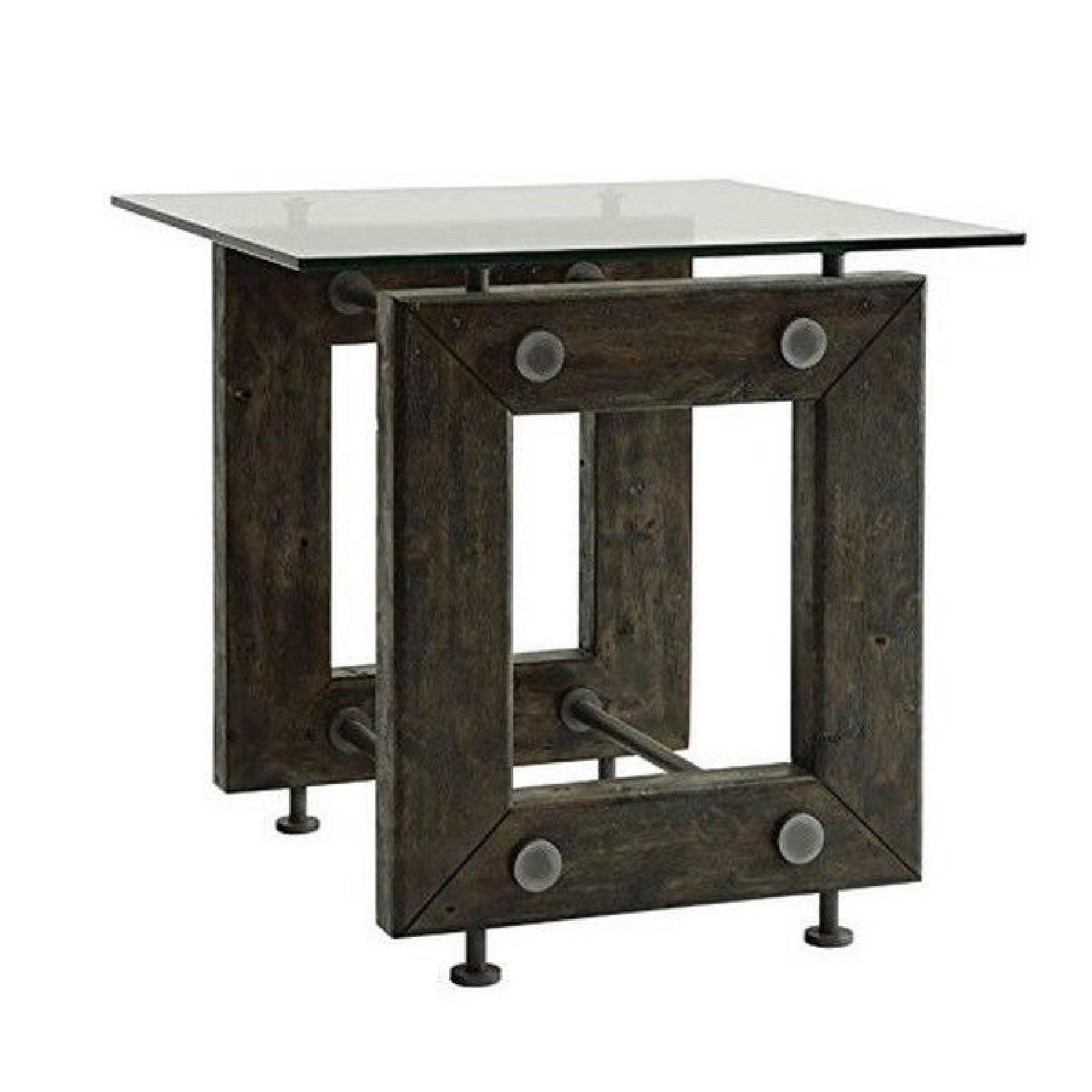 Industrial Style Solid Wood Side Table w/ Exposed Bolts & Tempered Glass Top