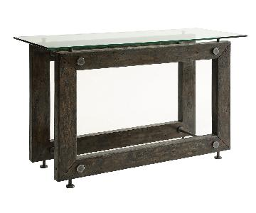 Industrial Style Solid Wood Sofa Table w/ Exposed Bolts & Tempered Glass Top