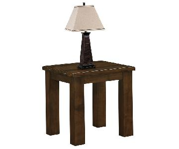 Rustic Style End Table w/ Solid Asian Hardwood Storage Shelf in Pecan Finish