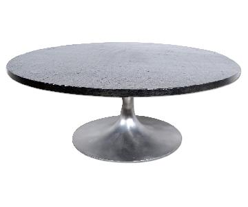 Eero Saarinen Style Slate Topped Tulip Base Coffee Table in Brushed Aluminum