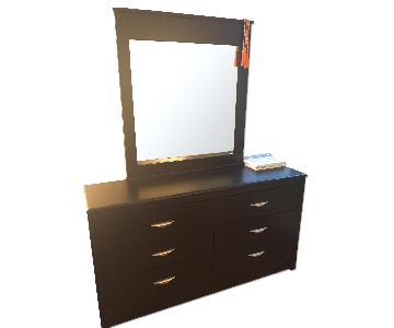 Cort Furniture Black Dresser w/ Mirror