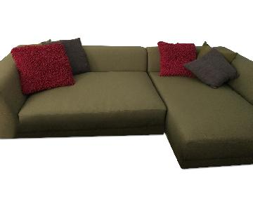 CB2 Uno 2-Peice Sectional Sofa in Green
