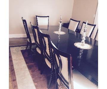 Raymour & Flanigan Wood & Leather Dining Table w/ 10 Chairs