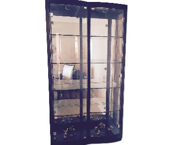 Raymour & Flanigan Curio w/ Spotlights & 4 Glass Shelves