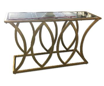 Gold Leaf Mirror-Top Console Table