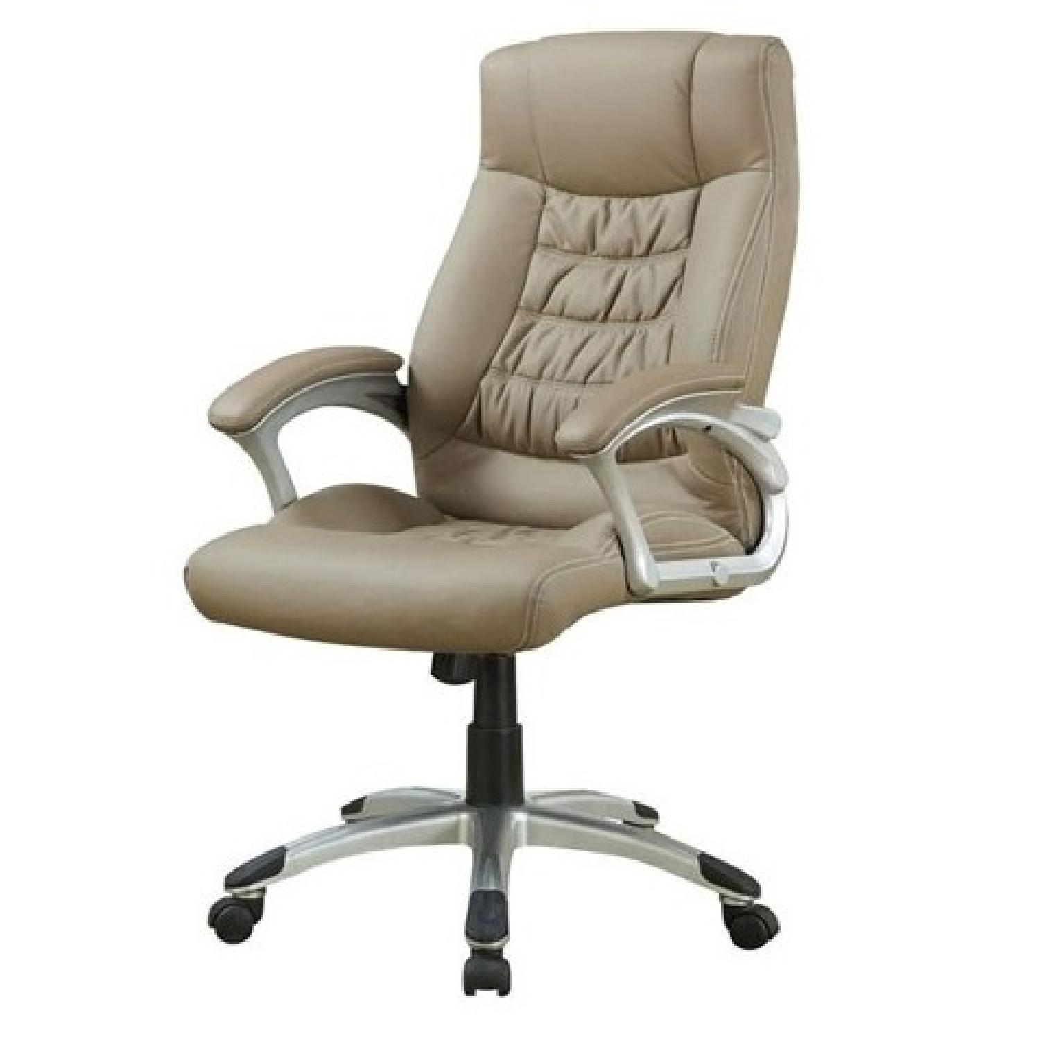 Contemporary Upholstered Executive Chair in Taupe Leatherette