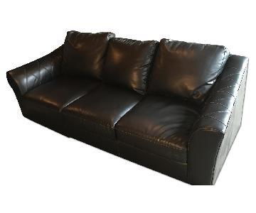 Raymour & Flanigan Black Bonded Leather Sofa + Loveseat