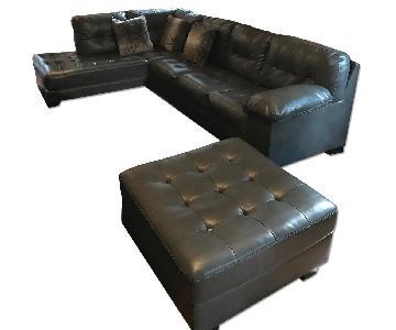 Ashley's Grey Leather Sectional Sofa & Ottoman