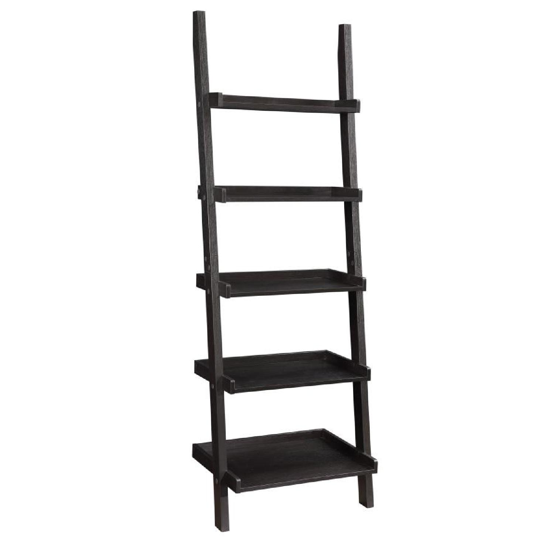 Cappuccino Ladder Bookcase w/ 5 Shelves