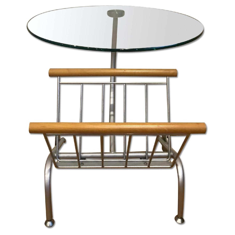 Wood Side Table w/ Glass Top & Magazine Storage